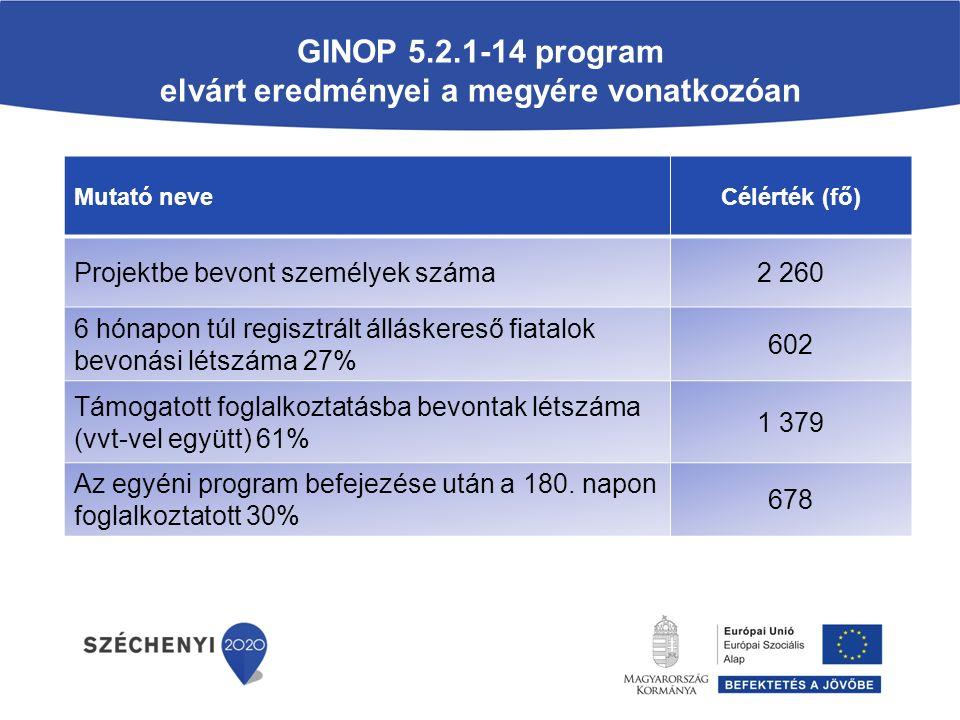 GINOP 5.2.1-14 program elvárt eredményei a megyére vonatkozóan Mutató neveCélérték (fő) Projektbe bevont személyek száma2 260 6 hónapon túl regisztrált álláskereső fiatalok bevonási létszáma 27% 602 Támogatott foglalkoztatásba bevontak létszáma (vvt-vel együtt) 61% 1 379 Az egyéni program befejezése után a 180.