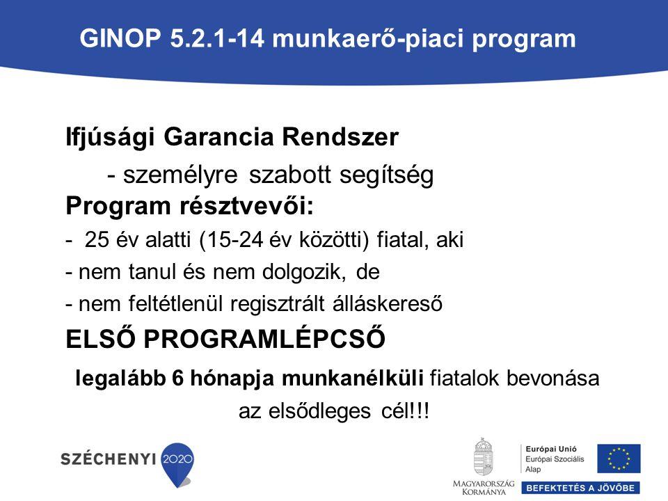 GINOP 5.2.1-14 munkaerő-piaci program Ifjúsági Garancia Rendszer - személyre szabott segítség Program résztvevői: - 25 év alatti (15-24 év közötti) fiatal, aki - nem tanul és nem dolgozik, de - nem feltétlenül regisztrált álláskereső ELSŐ PROGRAMLÉPCSŐ legalább 6 hónapja munkanélküli fiatalok bevonása az elsődleges cél!!!