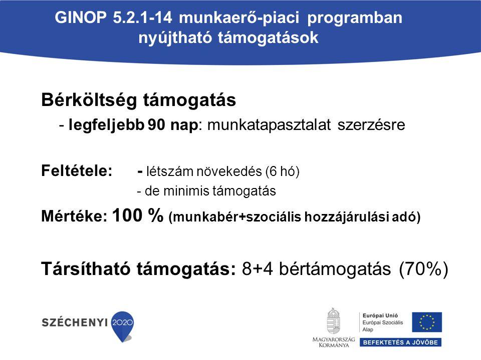 GINOP 5.2.1-14 munkaerő-piaci programban nyújtható támogatások Bérköltség támogatás - legfeljebb 90 nap: munkatapasztalat szerzésre Feltétele:- létszám növekedés (6 hó) - de minimis támogatás Mértéke: 100 % (munkabér+szociális hozzájárulási adó) Társítható támogatás: 8+4 bértámogatás (70%)