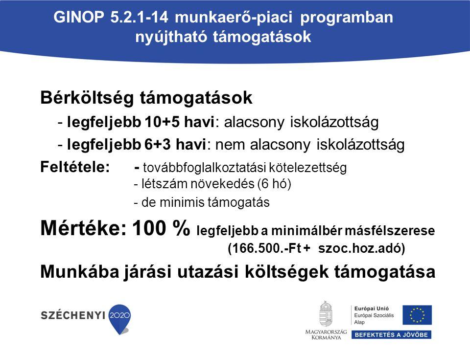 GINOP 5.2.1-14 munkaerő-piaci programban nyújtható támogatások Bérköltség támogatások - legfeljebb 10+5 havi: alacsony iskolázottság - legfeljebb 6+3 havi: nem alacsony iskolázottság Feltétele:- továbbfoglalkoztatási kötelezettség - létszám növekedés (6 hó) - de minimis támogatás Mértéke: 100 % legfeljebb a minimálbér másfélszerese (166.500.-Ft + szoc.hoz.adó) Munkába járási utazási költségek támogatása