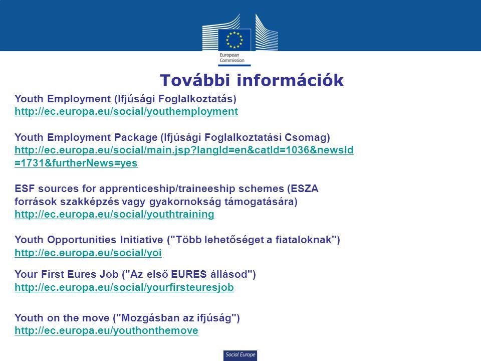 Social Europe További információk Youth Employment (Ifjúsági Foglalkoztatás) http://ec.europa.eu/social/youthemployment Youth Employment Package (Ifjúsági Foglalkoztatási Csomag) http://ec.europa.eu/social/main.jsp?langId=en&catId=1036&newsId =1731&furtherNews=yes ESF sources for apprenticeship/traineeship schemes (ESZA források szakképzés vagy gyakornokság támogatására) http://ec.europa.eu/social/youthtraining Youth Opportunities Initiative ( Több lehetőséget a fiataloknak ) http://ec.europa.eu/social/yoi Your First Eures Job ( Az első EURES állásod ) http://ec.europa.eu/social/yourfirsteuresjob Youth on the move ( Mozgásban az ifjúság ) http://ec.europa.eu/youthonthemove