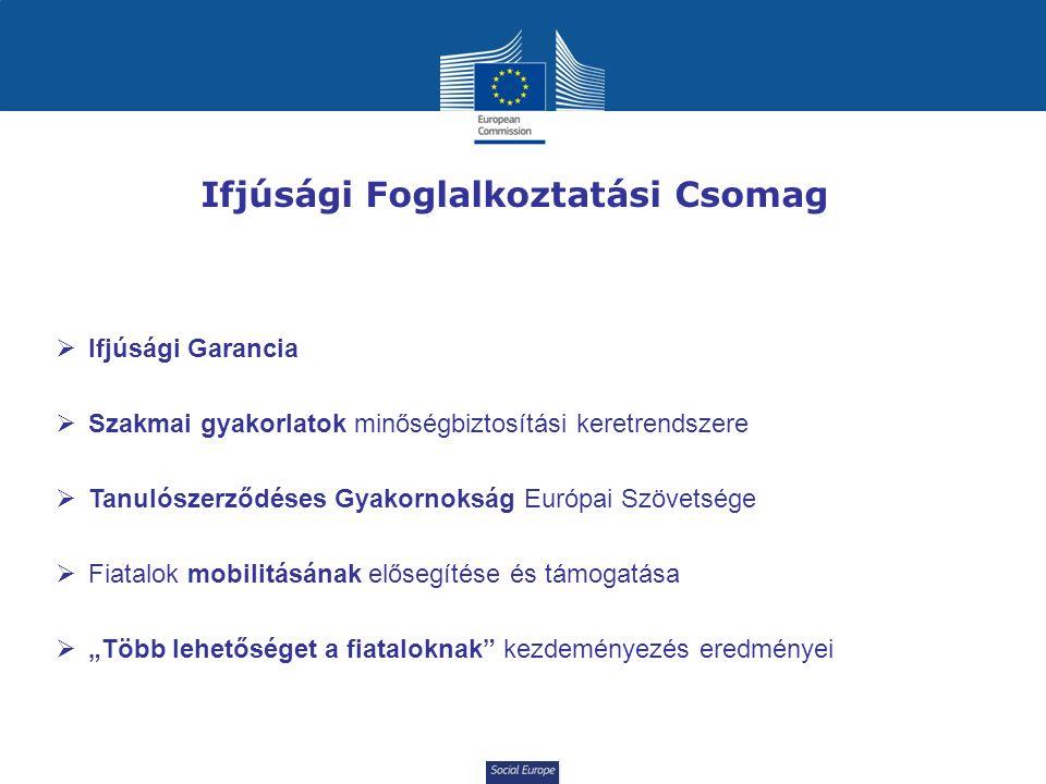 """Social Europe Ifjúsági Foglalkoztatási Csomag  Ifjúsági Garancia  Szakmai gyakorlatok minőségbiztosítási keretrendszere  Tanulószerződéses Gyakornokság Európai Szövetsége  Fiatalok mobilitásának elősegítése és támogatása  """"Több lehetőséget a fiataloknak kezdeményezés eredményei"""