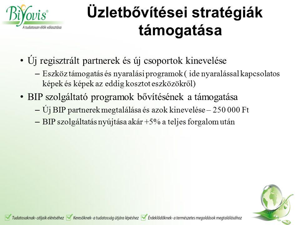 Üzletbővítései stratégiák támogatása Új regisztrált partnerek és új csoportok kinevelése – Eszköz támogatás és nyaralási programok ( ide nyaralással kapcsolatos képek és képek az eddig kosztot eszközökről) BIP szolgáltató programok bővítésének a támogatása – Új BIP partnerek megtalálása és azok kinevelése – 250 000 Ft – BIP szolgáltatás nyújtása akár +5% a teljes forgalom után