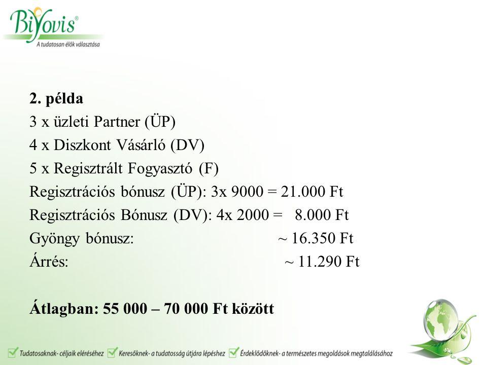 2. példa 3 x üzleti Partner (ÜP) 4 x Diszkont Vásárló (DV) 5 x Regisztrált Fogyasztó (F) Regisztrációs bónusz (ÜP): 3x 9000 = 21.000 Ft Regisztrációs