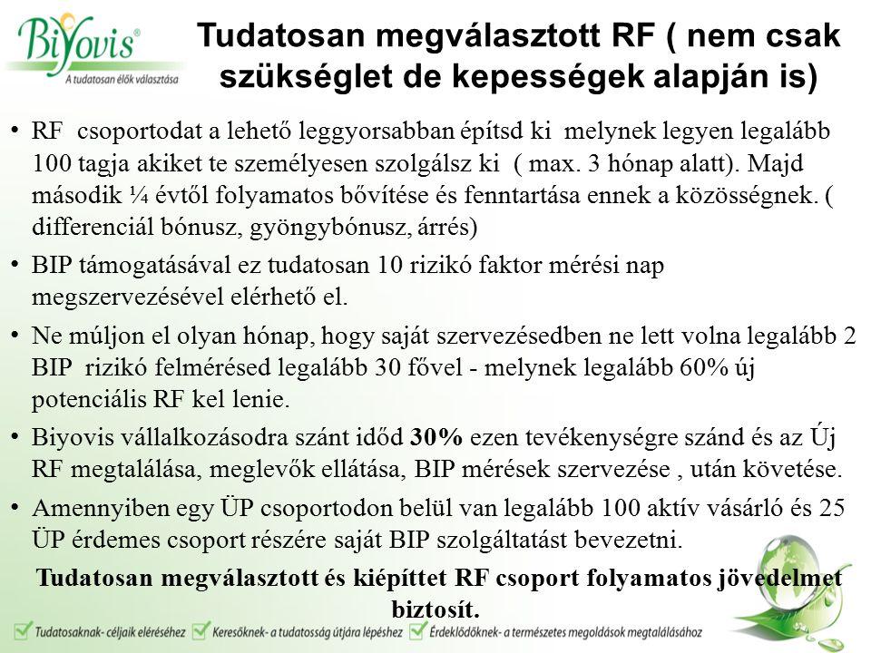 Tudatosan megválasztott RF ( nem csak szükséglet de kepességek alapján is) RF csoportodat a lehető leggyorsabban építsd ki melynek legyen legalább 100 tagja akiket te személyesen szolgálsz ki ( max.