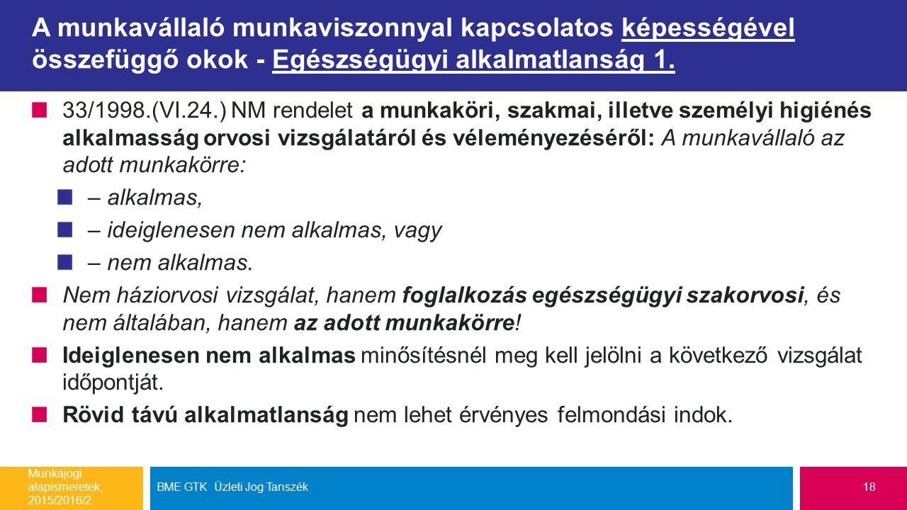 A munkavállaló munkaviszonnyal kapcsolatos képességével összefüggő okok - Egészségügyi alkalmatlanság 1. 33/1998.(VI.24.) NM rendelet a munkaköri, sza