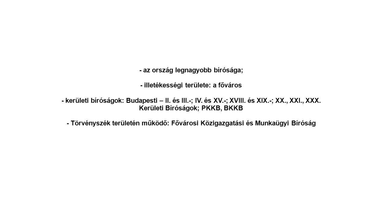 - az ország legnagyobb bírósága; - illetékességi területe: a főváros - kerületi bíróságok: Budapesti – II. és III.-; IV. és XV.-; XVIII. és XIX.-; XX.