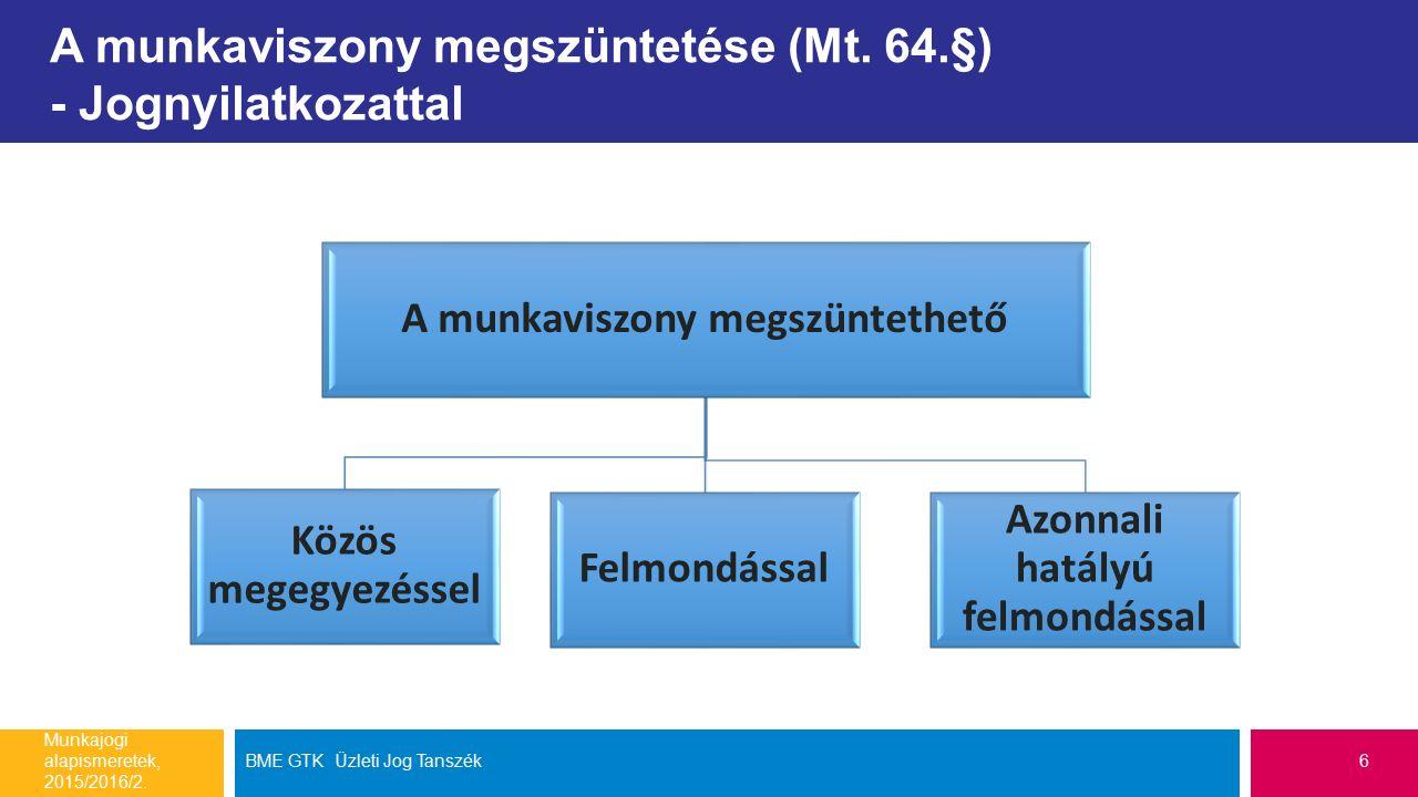 A munkaviszony megszüntetése (Mt. 64.§) - Jognyilatkozattal Munkajogi alapismeretek, 2015/2016/2.