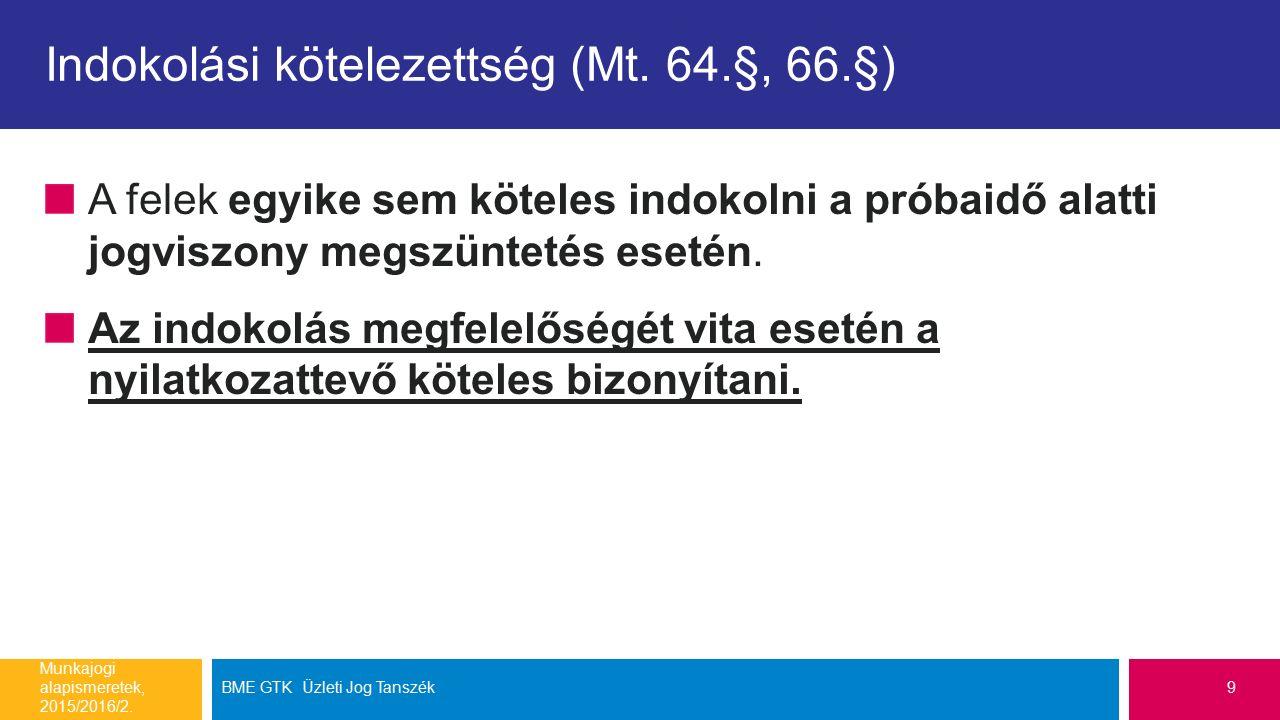 A határozott idejű munkaviszony felmondása Munkajogi alapismeretek, 2015/2016/2.