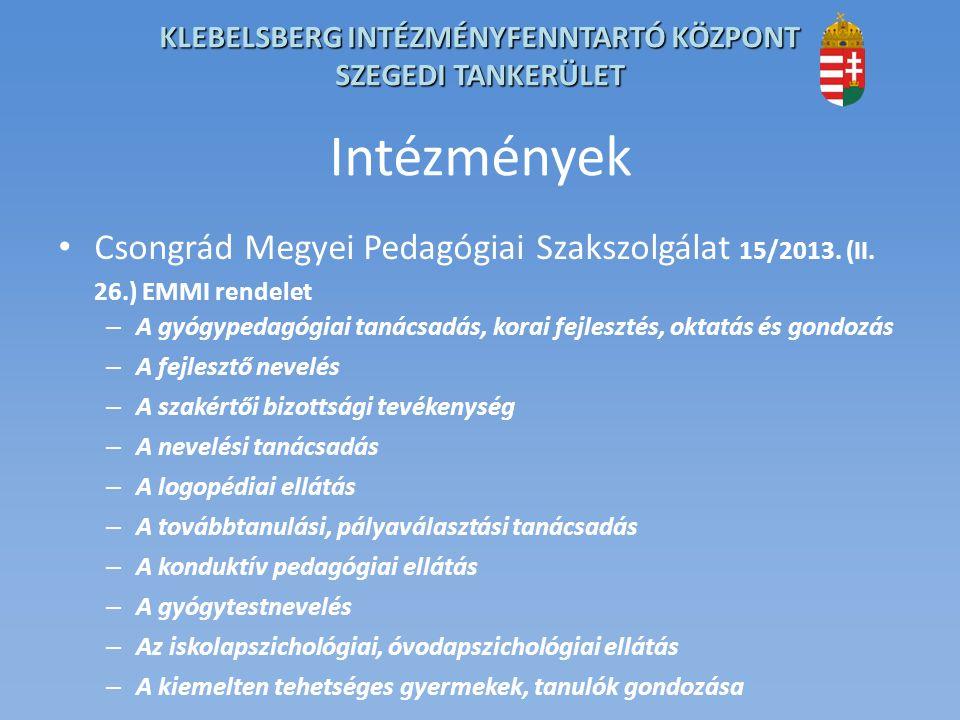 KLEBELSBERG INTÉZMÉNYFENNTARTÓ KÖZPONT SZEGEDI TANKERÜLET Intézmények Csongrád Megyei Pedagógiai Szakszolgálat 15/2013.