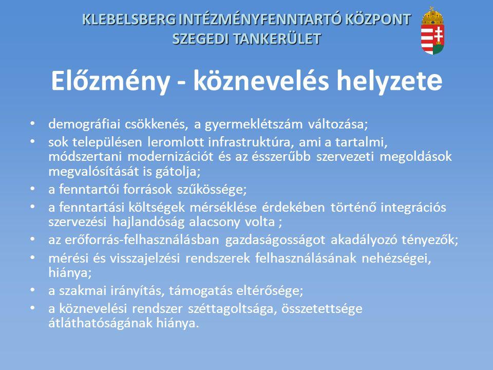 KLEBELSBERG INTÉZMÉNYFENNTARTÓ KÖZPONT SZEGEDI TANKERÜLET Mi a köznevelési rendszer átalakításának célja.
