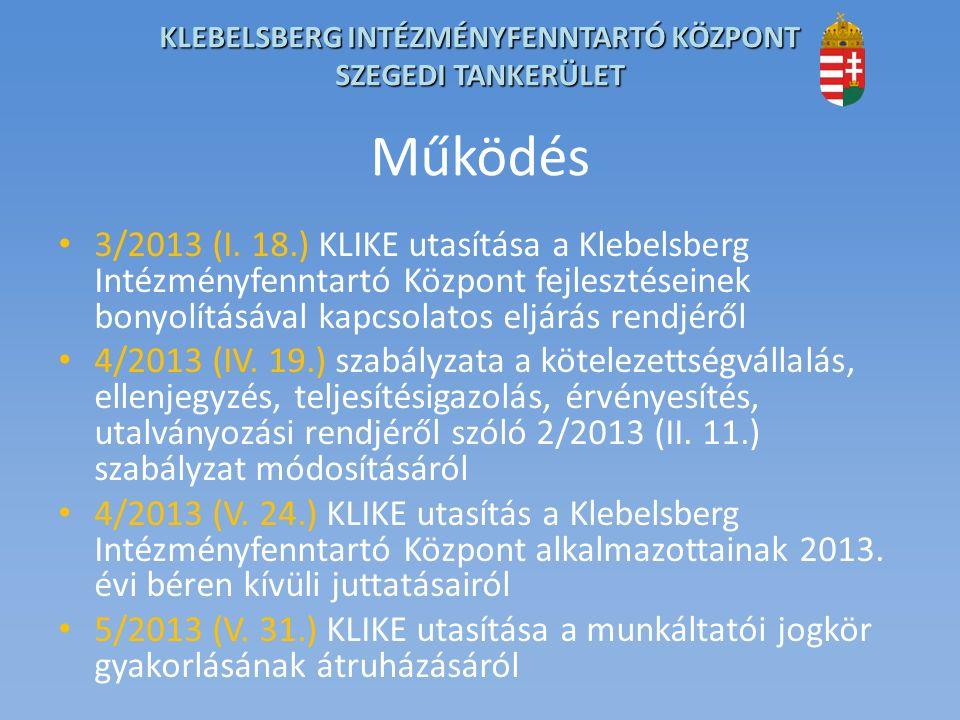 KLEBELSBERG INTÉZMÉNYFENNTARTÓ KÖZPONT SZEGEDI TANKERÜLET Működés 3/2013 (I.