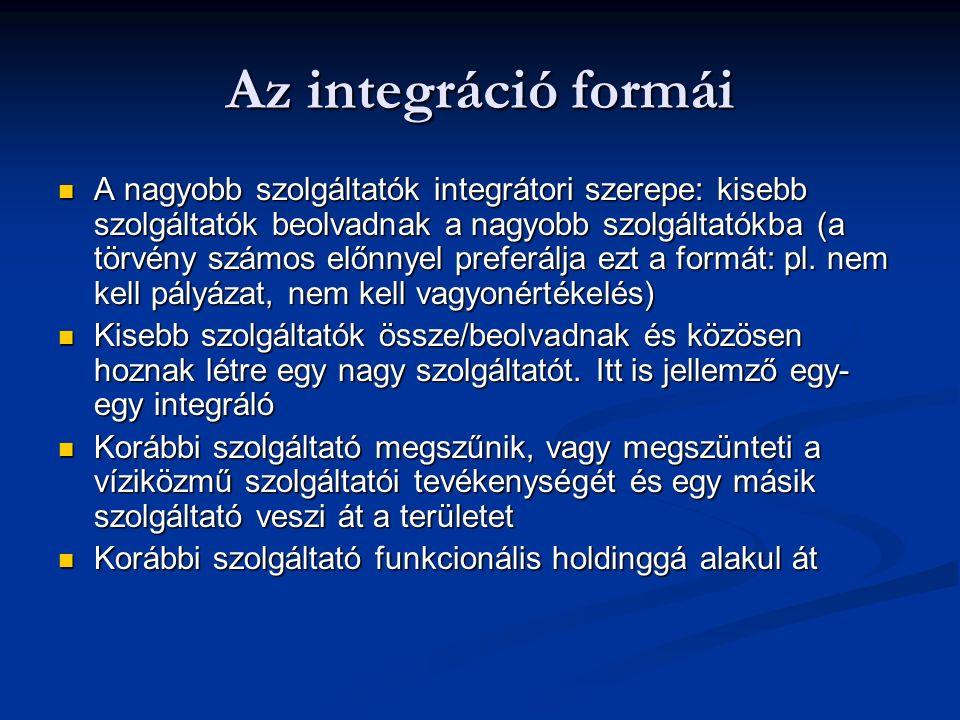 Az integráció formái A nagyobb szolgáltatók integrátori szerepe: kisebb szolgáltatók beolvadnak a nagyobb szolgáltatókba (a törvény számos előnnyel preferálja ezt a formát: pl.