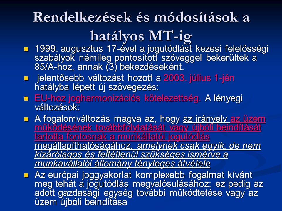 Rendelkezések és módosítások a hatályos MT-ig 1999. augusztus 17-ével a jogutódlást kezesi felelősségi szabályok némileg pontosított szöveggel bekerül
