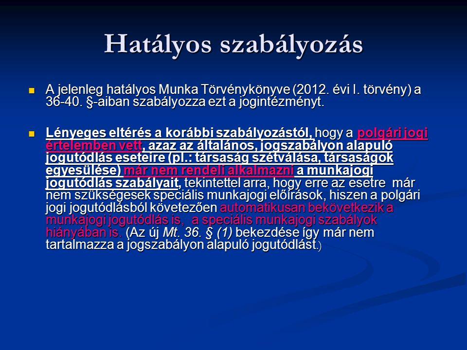 Hatályos szabályozás A jelenleg hatályos Munka Törvénykönyve (2012. évi I. törvény) a 36-40. §-aiban szabályozza ezt a jogintézményt. A jelenleg hatál