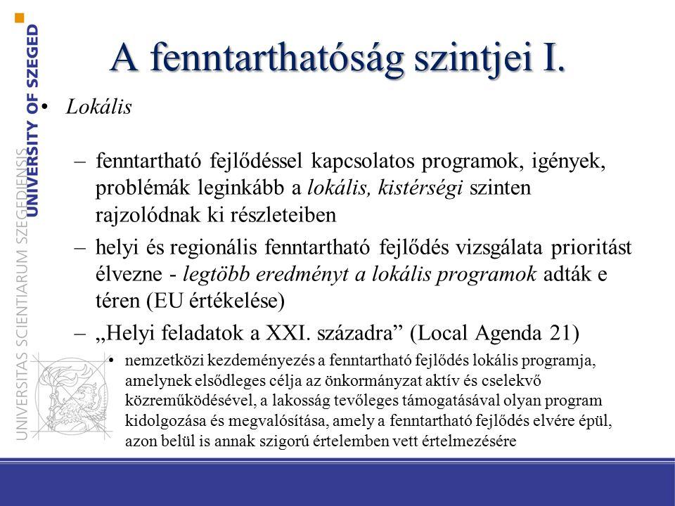 A fenntarthatóság szintjei II.Regionális –Régió.