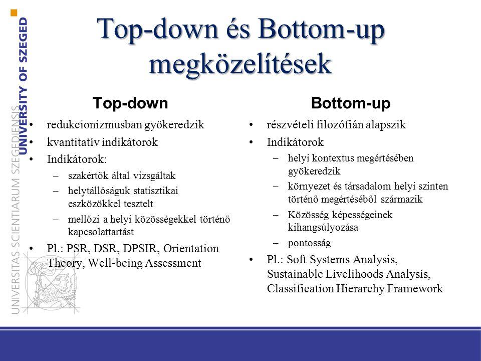 Top-down és Bottom-up megközelítések Top-down redukcionizmusban gyökeredzik kvantitatív indikátorok Indikátorok: –szakértők által vizsgáltak –helytállóságuk statisztikai eszközökkel tesztelt –mellőzi a helyi közösségekkel történő kapcsolattartást Pl.: PSR, DSR, DPSIR, Orientation Theory, Well-being Assessment Bottom-up részvételi filozófián alapszik Indikátorok –helyi kontextus megértésében gyökeredzik –környezet és társadalom helyi szinten történő megértéséből származik –Közösség képességeinek kihangsúlyozása –pontosság Pl.: Soft Systems Analysis, Sustainable Livelihoods Analysis, Classification Hierarchy Framework