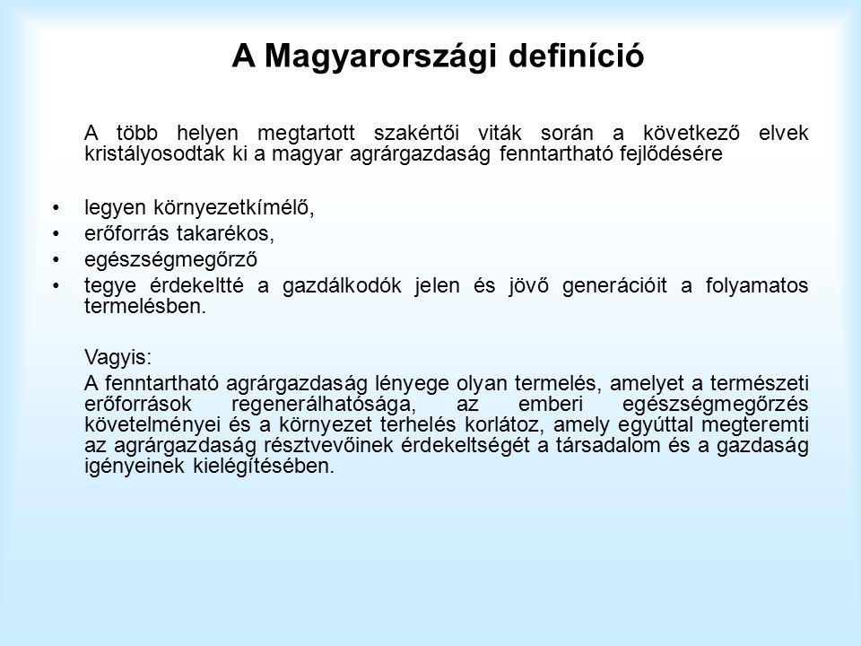 A Magyarországi definíció A több helyen megtartott szakértői viták során a következő elvek kristályosodtak ki a magyar agrárgazdaság fenntartható fejl