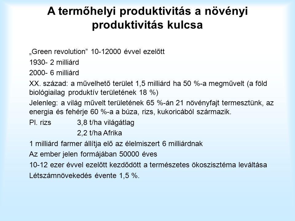 """A termőhelyi produktivitás a növényi produktivitás kulcsa """"Green revolution"""" 10-12000 évvel ezelőtt 1930- 2 milliárd 2000- 6 milliárd XX. század: a mű"""