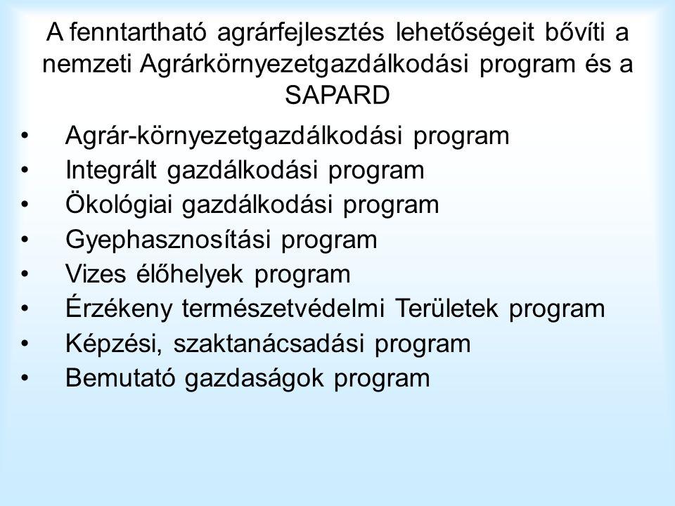 A fenntartható agrárfejlesztés lehetőségeit bővíti a nemzeti Agrárkörnyezetgazdálkodási program és a SAPARD Agrár-környezetgazdálkodási program Integr