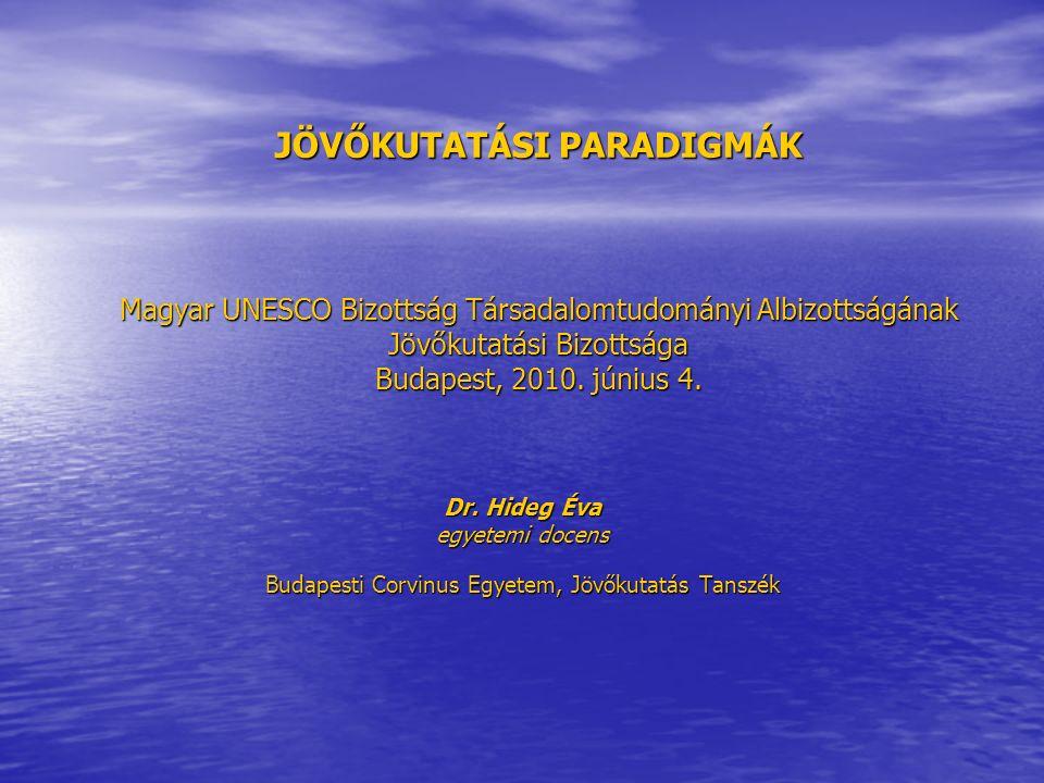 JÖVŐKUTATÁSI PARADIGMÁK Magyar UNESCO Bizottság Társadalomtudományi Albizottságának Jövőkutatási Bizottsága Budapest, 2010.