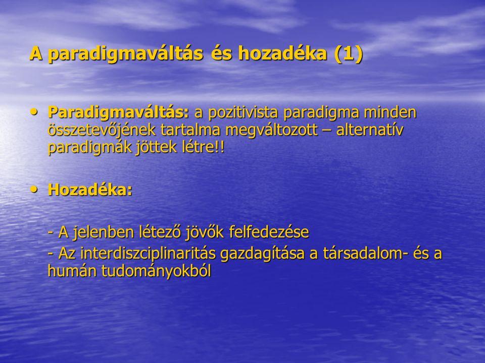 A paradigmaváltás és hozadéka (1) Paradigmaváltás: a pozitivista paradigma minden összetevőjének tartalma megváltozott – alternatív paradigmák jöttek létre!.
