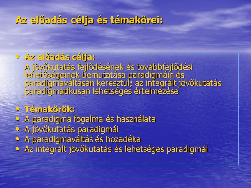 Az előadás célja és témakörei: Az előadás célja: Az előadás célja: A jövőkutatás fejlődésének és továbbfejlődési lehetőségeinek bemutatása paradigmáin és paradigmaváltásán keresztül; az integrált jövőkutatás paradigmatikusan lehetséges értelmezése Témakörök: Témakörök: A paradigma fogalma és használata A paradigma fogalma és használata A jövőkutatás paradigmái A jövőkutatás paradigmái A paradigmaváltás és hozadéka A paradigmaváltás és hozadéka Az integrált jövőkutatás és lehetséges paradigmái Az integrált jövőkutatás és lehetséges paradigmái