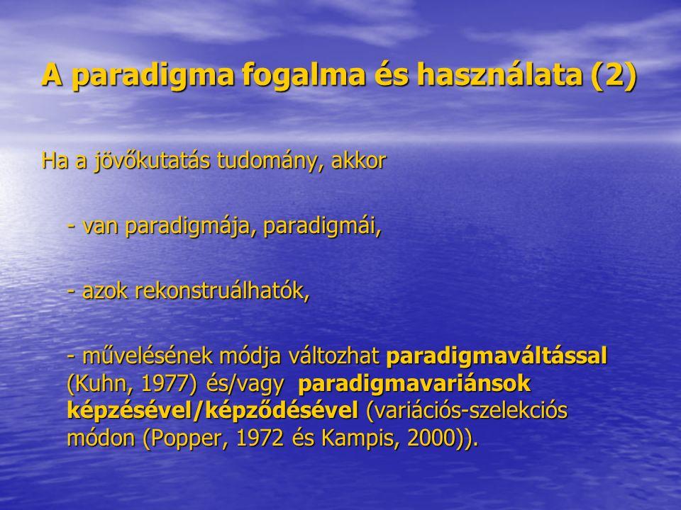 A paradigma fogalma és használata (2) Ha a jövőkutatás tudomány, akkor - van paradigmája, paradigmái, - azok rekonstruálhatók, - művelésének módja változhat paradigmaváltással (Kuhn, 1977) és/vagy paradigmavariánsok képzésével/képződésével (variációs-szelekciós módon (Popper, 1972 és Kampis, 2000)).