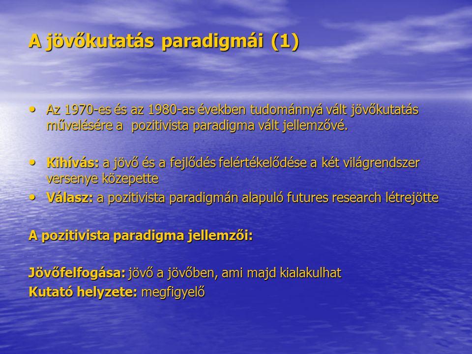 A jövőkutatás paradigmái (1) Az 1970-es és az 1980-as években tudománnyá vált jövőkutatás művelésére a pozitivista paradigma vált jellemzővé.