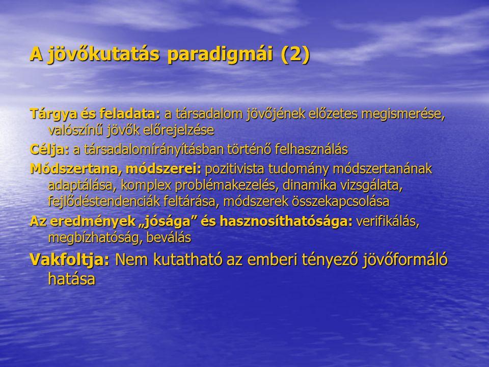 A jövőkutatás paradigmái (3) Az 1990-es években paradigmaváltás történt a jövőkutatásban.