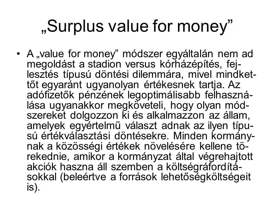 """""""Surplus value for money A """"value for money módszer egyáltalán nem ad megoldást a stadion versus kórházépítés, fej- lesztés típusú döntési dilemmára, mivel mindket- tőt egyaránt ugyanolyan értékesnek tartja."""
