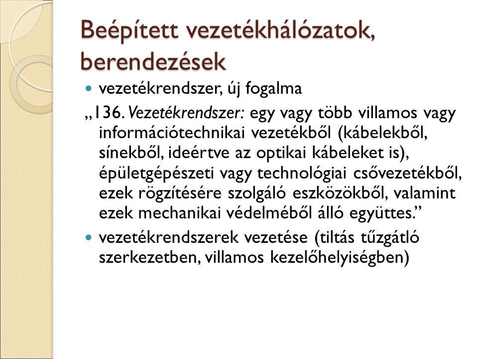 """Beépített vezetékhálózatok, berendezések vezetékrendszer, új fogalma """"136. Vezetékrendszer: egy vagy több villamos vagy információtechnikai vezetékből"""