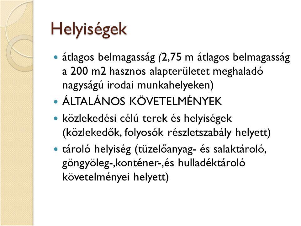 Helyiségek átlagos belmagasság (2,75 m átlagos belmagasság a 200 m2 hasznos alapterületet meghaladó nagyságú irodai munkahelyeken) ÁLTALÁNOS KÖVETELMÉNYEK közlekedési célú terek és helyiségek (közlekedők, folyosók részletszabály helyett) tároló helyiség (tüzelőanyag- és salaktároló, göngyöleg-,konténer-,és hulladéktároló követelményei helyett)