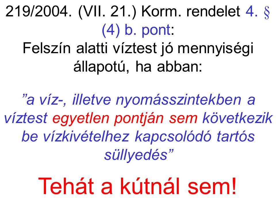 """219/2004. (VII. 21.) Korm. rendelet 4. § (4) b. pont: Felszín alatti víztest jó mennyiségi állapotú, ha abban: """"a víz-, illetve nyomásszintekben a víz"""
