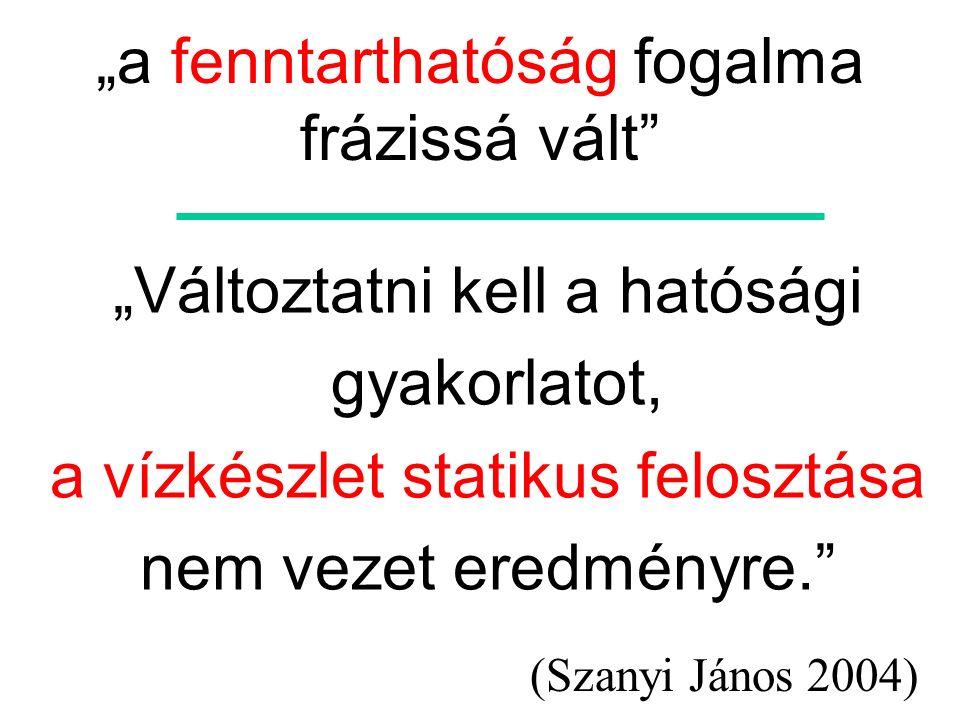 """""""a fenntarthatóság fogalma frázissá vált"""" (Szanyi János 2004) """"Változtatni kell a hatósági gyakorlatot, a vízkészlet statikus felosztása nem vezet ere"""