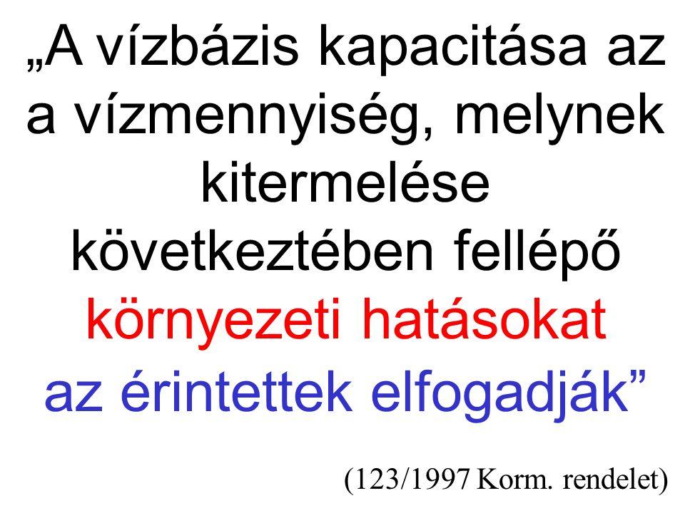 """""""A vízbázis kapacitása az a vízmennyiség, melynek kitermelése következtében fellépő környezeti hatásokat az érintettek elfogadják"""" (123/1997 Korm. ren"""
