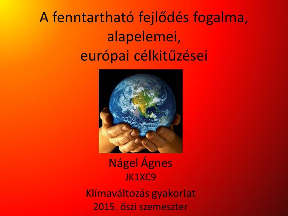 A fenntartható fejlődés fogalma, alapelemei, európai célkitűzései Nágel Ágnes JK1XC9 Klímaváltozás gyakorlat 2015. őszi szemeszter