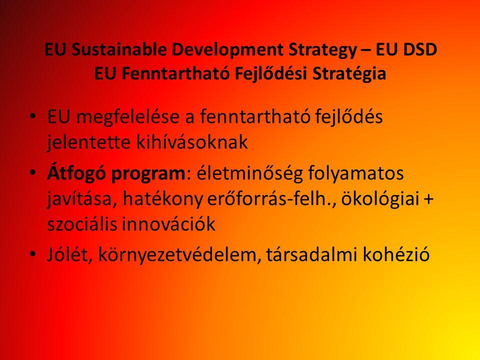 EU Sustainable Development Strategy – EU DSD EU Fenntartható Fejlődési Stratégia EU megfelelése a fenntartható fejlődés jelentette kihívásoknak Átfogó program: életminőség folyamatos javítása, hatékony erőforrás-felh., ökológiai + szociális innovációk Jólét, környezetvédelem, társadalmi kohézió