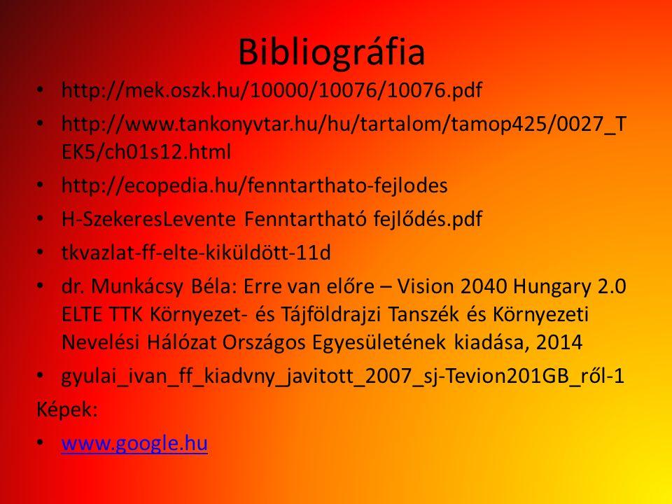 Bibliográfia http://mek.oszk.hu/10000/10076/10076.pdf http://www.tankonyvtar.hu/hu/tartalom/tamop425/0027_T EK5/ch01s12.html http://ecopedia.hu/fenntarthato-fejlodes H-SzekeresLevente Fenntartható fejlődés.pdf tkvazlat-ff-elte-kiküldött-11d dr.