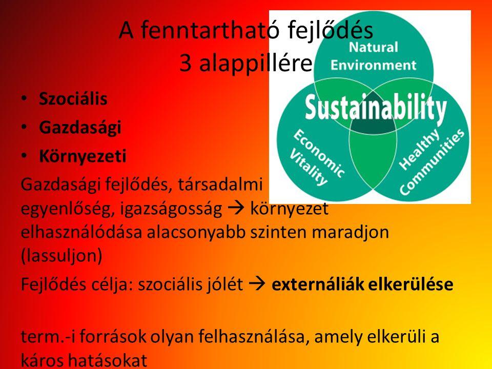 A fenntartható fejlődés 3 alappillére Szociális Gazdasági Környezeti Gazdasági fejlődés, társadalmi egyenlőség, igazságosság  környezet elhasználódása alacsonyabb szinten maradjon (lassuljon) Fejlődés célja: szociális jólét  externáliák elkerülése term.-i források olyan felhasználása, amely elkerüli a káros hatásokat
