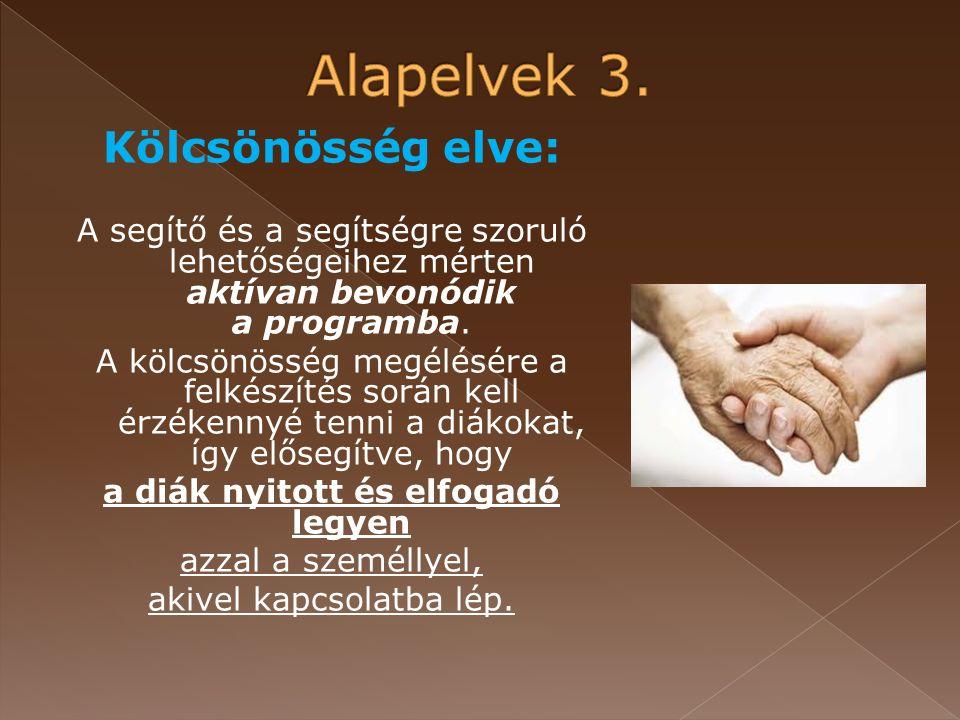 Kölcsönösség elve: A segítő és a segítségre szoruló lehetőségeihez mérten aktívan bevonódik a programba.