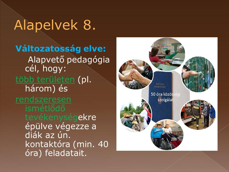Változatosság elve: Alapvető pedagógia cél, hogy: több területen (pl.