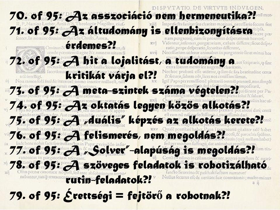70. of 95: Az asszociáció nem hermeneutika?! 71. of 95: Az áltudomány is ellenbizonyításra érdemes?! 72. of 95: A hit a lojalitást, a tudomány a kriti