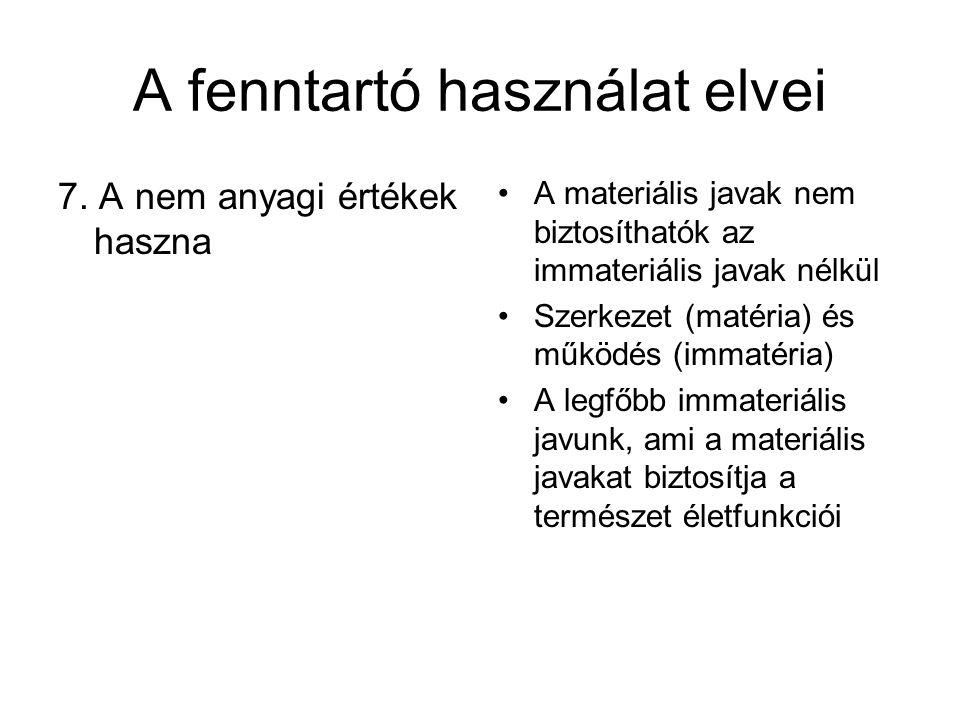 A fenntartó használat elvei 7. A nem anyagi értékek haszna A materiális javak nem biztosíthatók az immateriális javak nélkül Szerkezet (matéria) és mű