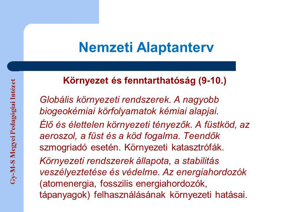 Gy-M-S Megyei Pedagógiai Intézet Nemzeti Alaptanterv Környezet és fenntarthatóság (9-10.) Globális környezeti rendszerek.
