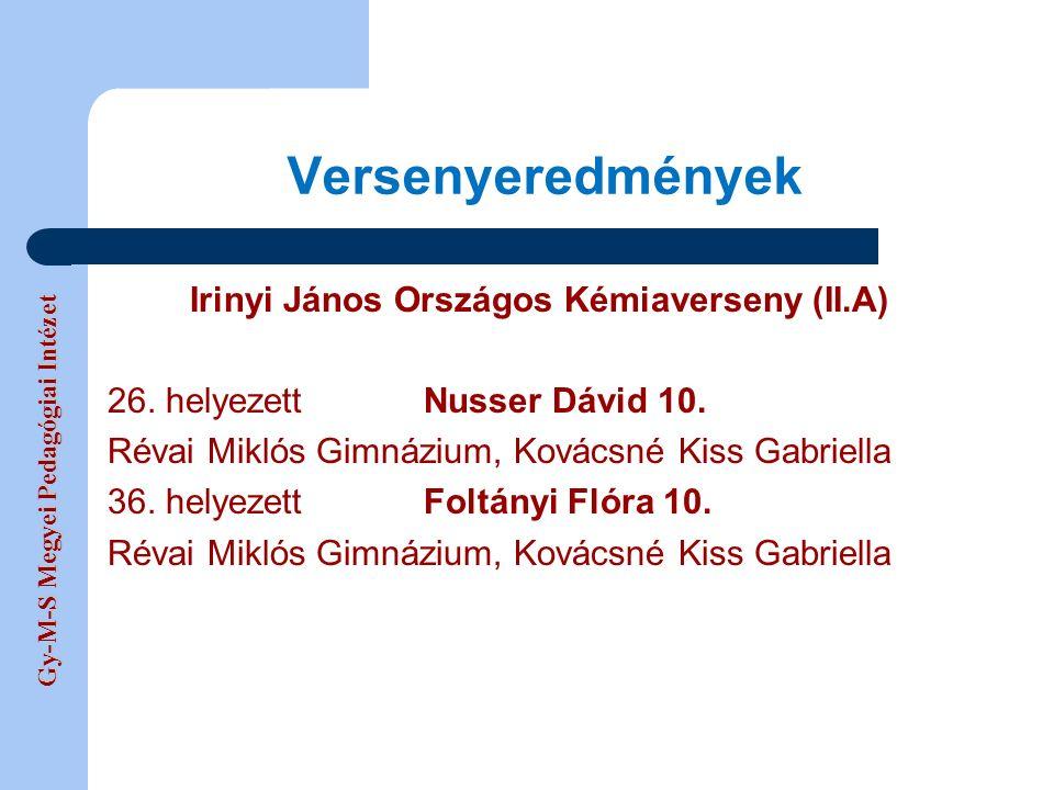 Gy-M-S Megyei Pedagógiai Intézet Versenyeredmények Irinyi János Országos Kémiaverseny (II.A) 26.