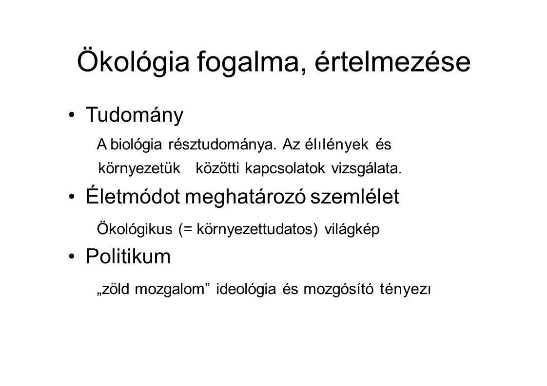 Ökológia fogalma, értelmezése Tudomány A biológia résztudománya.