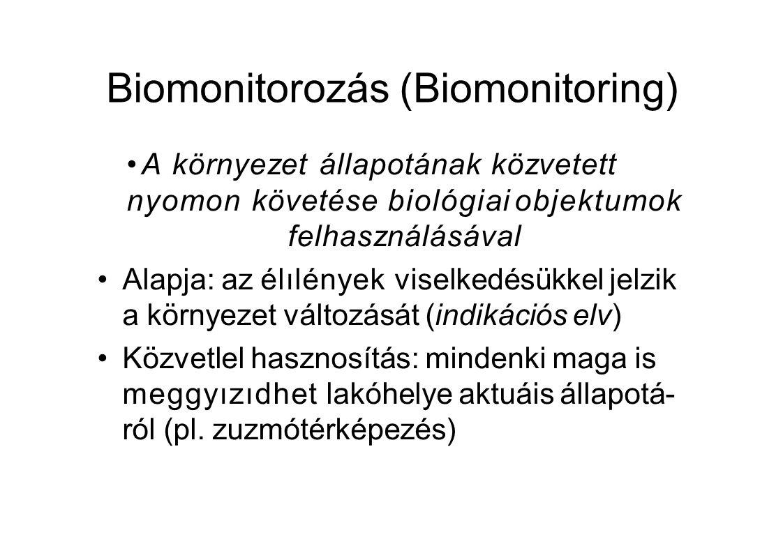Biomonitorozás (Biomonitoring) A környezet állapotának közvetett nyomon követése biológiai objektumok felhasználásával Alapja: az élılények viselkedésükkel jelzik a környezet változását (indikációs elv) Közvetlel hasznosítás: mindenki maga is meggyızıdhet lakóhelye aktuáis állapotá- ról (pl.