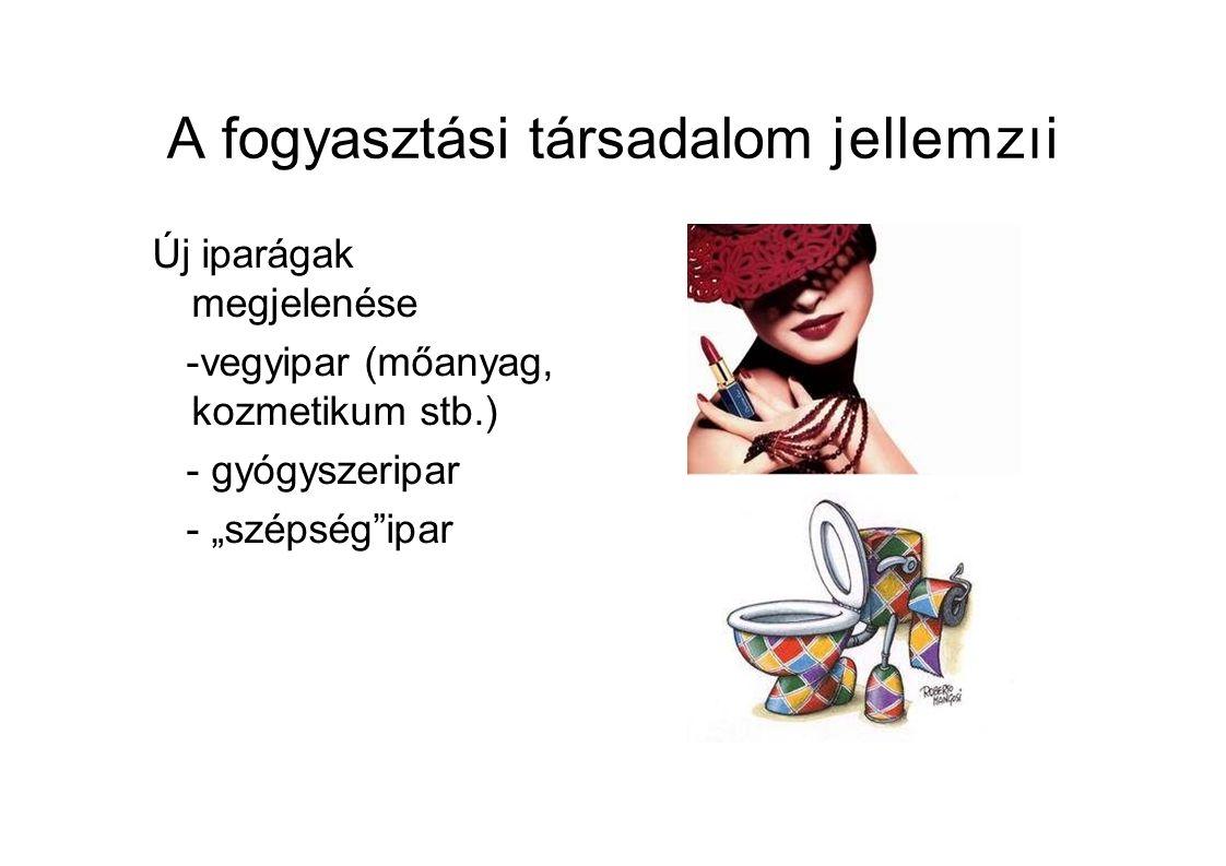 """A fogyasztási társadalom jellemzıi Új iparágak megjelenése -vegyipar (mőanyag, kozmetikum stb.) -gyógyszeripar -""""szépség ipar"""