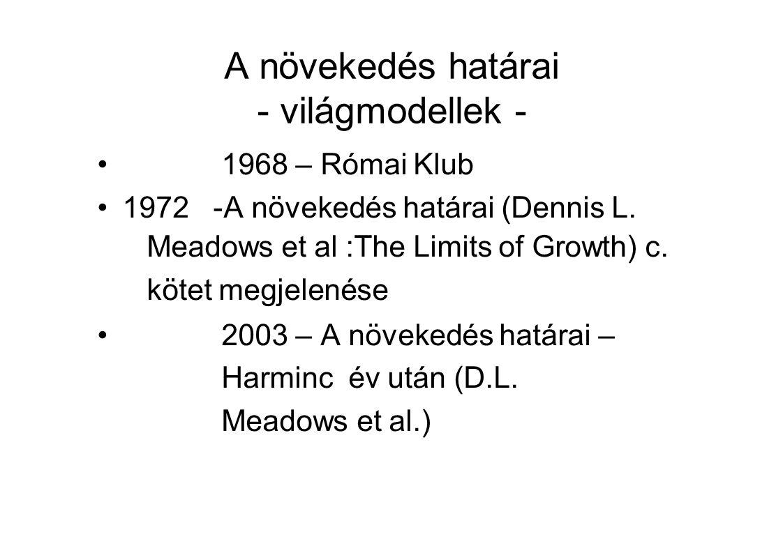 A növekedés határai - világmodellek - 1968 – Római Klub 1972 -A növekedés határai (Dennis L.